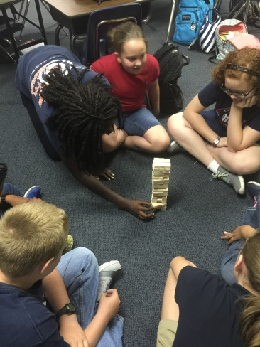 Prayer Jenga - Tell something you are thankful for in creation, then move a piece of the tower.