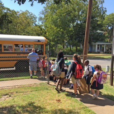 Students riding the SMS bus.