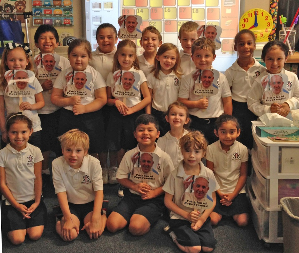 First grade excited about Pope Francis' visit to the United States.