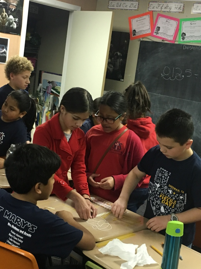 4th & 5th Grade students competed in groups to create the tallest free standing structure.