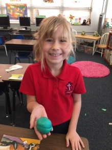 The first graders created the layers of the earth with clay.