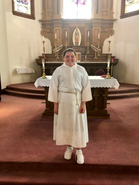 Congrats to our some of our newest altar servers for Wednesday's Mass: Amelia J. We appreciate you!!