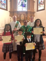 The Virtue Award for the month of October was Perseverance. The following students were awarded at Wednesday's mass: (Pre-K- Kinder) Valentin Pena, (1st-2nd) Dennie Taylor, (3rd-5th) Joselyn Mandala, (6th-8th) Leslie Morales.